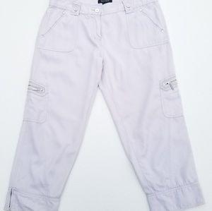 White House Black Market Cuffed Cargo Capri Pants
